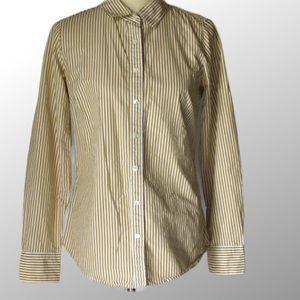 J.crew sz S stripe button up collar sleeve top